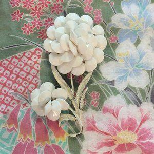 Vintage large white flower pin